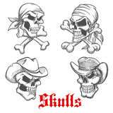 Sketched pirate, cowboy and sheriff Royalty Free Stock Photography