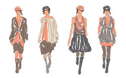 Sketched Retro Fashion Women Models Stock Images