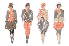 Sketched Retro Fashion Women Models Royalty Free Stock Image