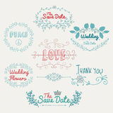 Sketched Romantic Colorful Vector Design Elements Royalty Free Stock Image