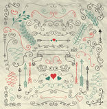 Sketched Rustic Floral Design Elements on Crumpled Stock Images
