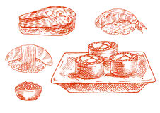 Sketched seafood icons with sushi, salmon, caviar Royalty Free Stock Photography