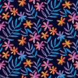 Sketched seamless pattern with tropical flowers. Vibrant color sketched seamless pattern with tropical leaves and flowers on black. Floral stock vector Stock Photos