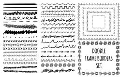 Sketched set of divider lines and frames on white Royalty Free Stock Photos