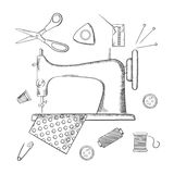 Sketched sewing and tailoring icons Royalty Free Stock Images