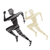 Sketched sIllhouette of Man Running Royalty Free Stock Image
