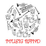Sketched sound instruments for musical band Stock Images