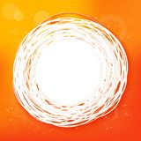 Sketched sunny orange abstract label Stock Image