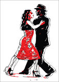 Sketched Tango Dancers Royalty Free Stock Images