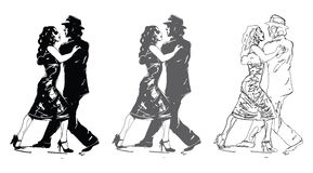 Sketched Tango Dancers Stock Image