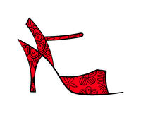 Sketched tango ornate shoe with filling side view Stock Image