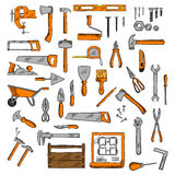 Sketched tools for building, carpentry, shoemaking Stock Photos