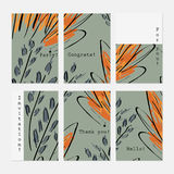 Sketched trees green and orange. Hand drawn creative invitation greeting cards.Poster placard flayer design templates. Anniversary Birthday wedding party cards royalty free illustration