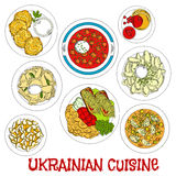 Sketched ukrainian meatless dishes for Lent icon Stock Image