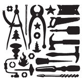 Sketched vector carpenter tools and symbols set Stock Image
