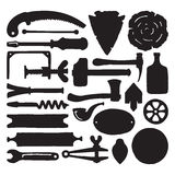 Sketched vector carpenter tools and symbols set Stock Images