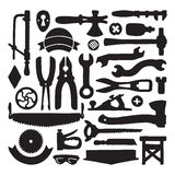 Sketched vector carpenter tools and symbols set Royalty Free Stock Photos