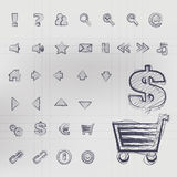 Sketched Vector Icons Stock Image