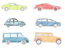 Sketched vehicles. Sketch illustrations of cars and people carriers Royalty Free Stock Image