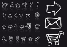 Sketched web icons Royalty Free Stock Image