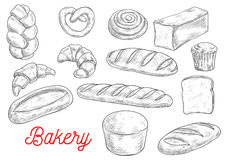Sketched wheat bread and sweet buns Royalty Free Stock Photography