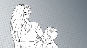 Sketched Woman Embrace Child, Mother With Son Over Pop Art Retro Pin Up Background Royalty Free Stock Photo
