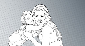 Sketched Woman Embrace Small Girl, Mother With Daughter Over Pop Art Retro Pin Up Background Royalty Free Stock Images