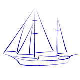 Sketched yacht. Royalty Free Stock Photo
