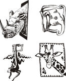 Sketches of African wild animals Stock Photography