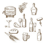 Sketches of alcohol, drinks and snacks Royalty Free Stock Photo