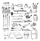 Sketches of artist's and writer's tools Stock Photography