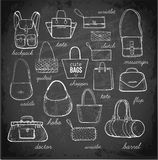 Sketches of bags.. Vector fashion illustration on blackboard background Stock Photography