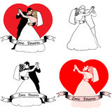 Sketches of beautiful young bride and groom in Stock Photography