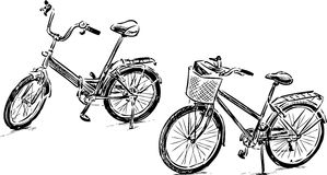 Sketches of bicycles for a stroll Royalty Free Stock Photo