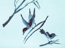 Sketches of birds on twigs on blue colored paper Royalty Free Stock Photography