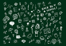 Sketches on blackboard, concept of school Royalty Free Stock Photography