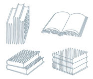 Sketches of books. Three sketches of the open and closed books Royalty Free Stock Images