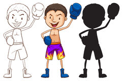 Sketches of a boxer in different colors Royalty Free Stock Photos