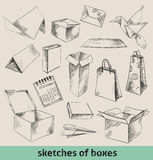 Sketches of boxes Stock Photo