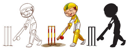 Sketches of a boy playing cricket in different colors Royalty Free Stock Photo