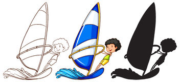 Sketches of a boy playing with the waves in three colours Stock Photos
