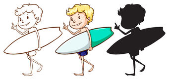 Sketches of a boy surfing Stock Photos