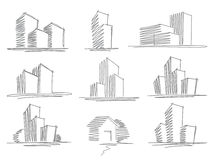Sketches of buildings Royalty Free Stock Images