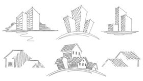 Sketches of buildings Stock Image