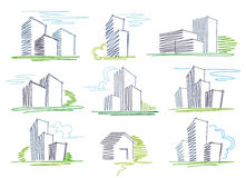 Sketches of buildings. The vector image Stock Images
