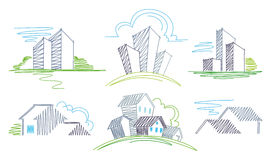 Sketches of buildings. The  image Royalty Free Stock Photos