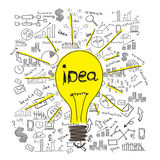 Sketches bulbs and business ideas Stock Photos