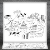 Sketches of business charts and graphs Royalty Free Stock Photo