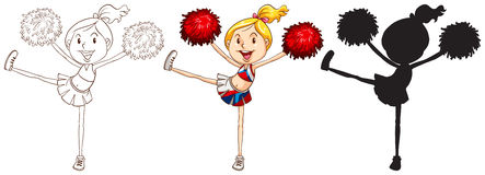 Sketches of a cheerdancer in different colours. Illustration of the sketches of a cheerdancer in different colours on a white background Stock Photos