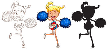 Sketches of a cheerdancer in different colours Royalty Free Stock Image